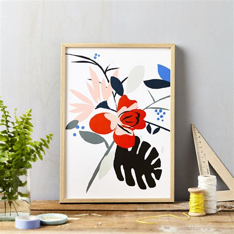 red flower  white art print lucy