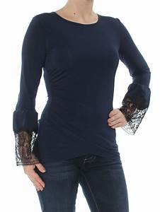 Kobi  89 Womens New 1052 Navy Lace Trim Bell Sleeves Top