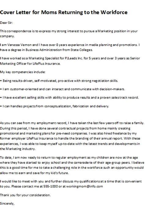 returning to the workforce resume exles sle cover letters cover letter for returning to the workforce