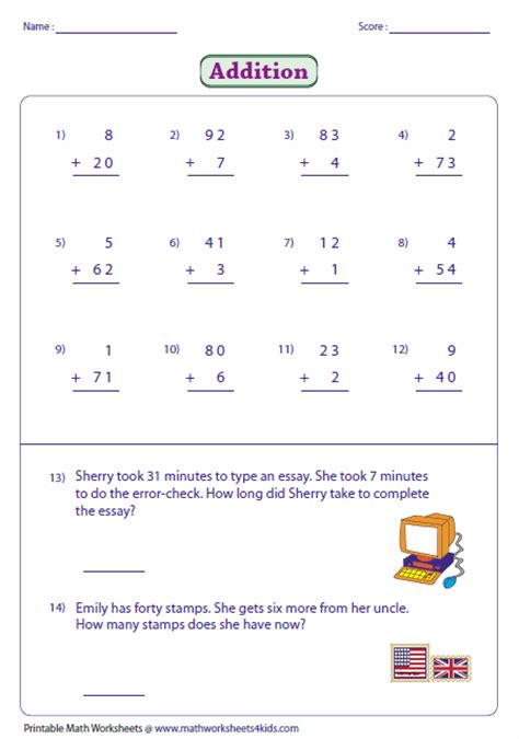 single digit vertical addition with regrouping 2 digit addition worksheets
