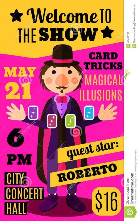flat circus background  magician  card trick
