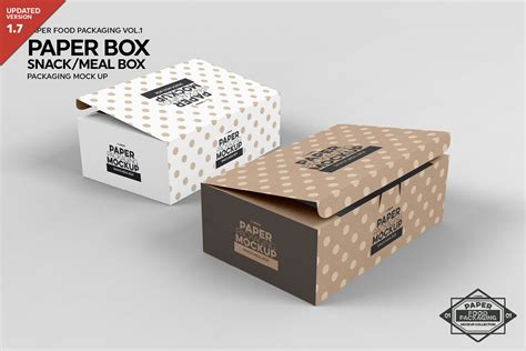 Glossy metallic snack bar mockup creativemarket. Snack or Meal Box Packaging MockUp By INC Design Studio ...