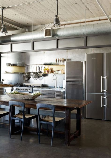industrial style kitchen  exposed ventilation ducting