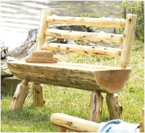 Build A Rustic Log Bench  Projects  Pinterest Bancs