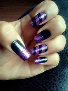 Purple glitter & black nails | All Things Nails | Pinterest