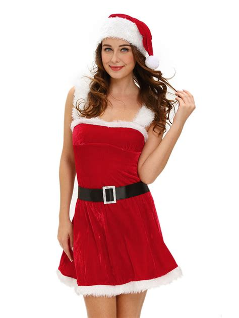 red white affordable three pieces velvet xmas costume dress