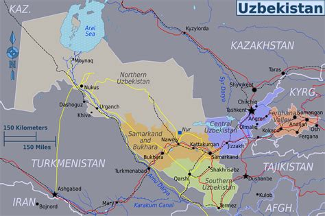 large regions map  uzbekistan uzbekistan asia