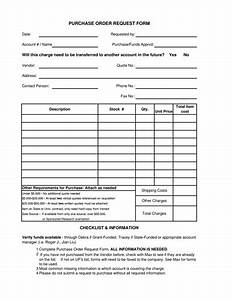 Purchase Order Request Form Template  Free Download  Edit