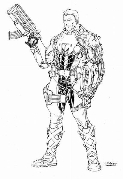 Cable Marvel Deviantart Comics Comic Spiderguile Lineart