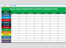 Social Media Calender Template Excel 2014 Editorial