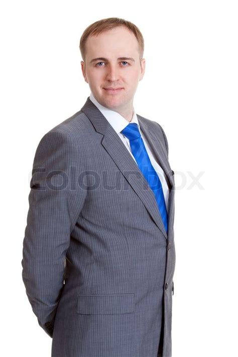 Portrait Eines Geschäftsmannes In Einem Grauen Anzug Und
