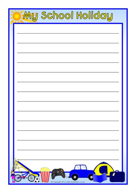 school holiday  page borders lined sb