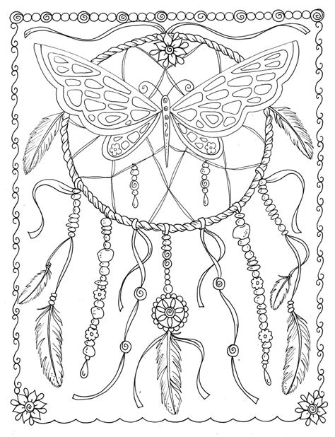 Butterfly Dreamcatcher Coloring Page Instant by