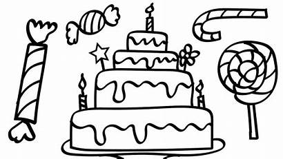 Coloring Cake Candy Pages Colouring Birthday Lot