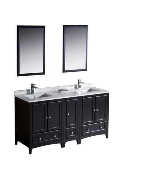 60 inch double sink bathroom vanity in espresso
