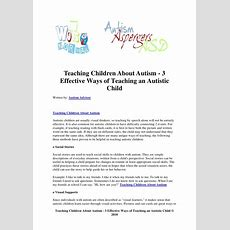 Teaching Children About Autism 3 Effective Ways Of Teaching An Auti…
