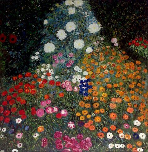 gustav klimt flower garden repro quality painted