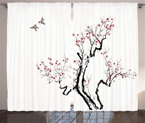 japanese decor curtains 2 panels set asian floral home decor