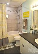 Yellow Gray And Aqua Kids Bathroom Design With Great DIY Ideas Yellow Grey Bathroom Pinterest Married A Tree Hugger Cheery Yellow And Grey Bathroom Grey Black And Yellow Bathroom Simply Modern Home Bathrooms