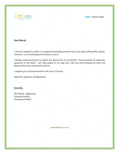 printable authorization letter formats  samples