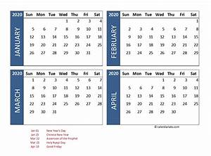 2020 Yearly Calendar Word 2020 Four Month Calendar Indonesia Template Free