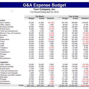 general  administrative ga expense budget template