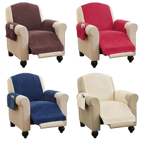 Recliner Covers by Faux Chenille Recliner Chair Furniture Cover Pockets 4