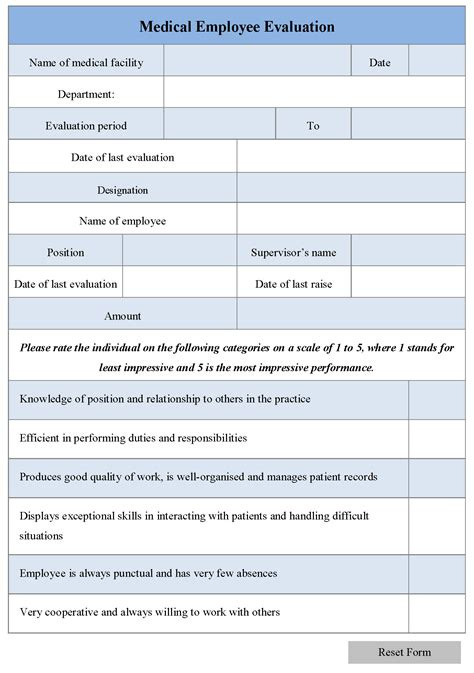 feedback forms for employees medical employee evaluation template www pixshark com