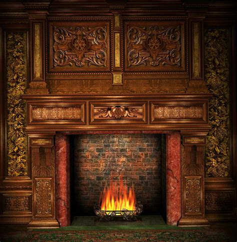 Backdrop With Fireplace by 10x10ft Vintage Room Frame Wall Bricks Fireplace