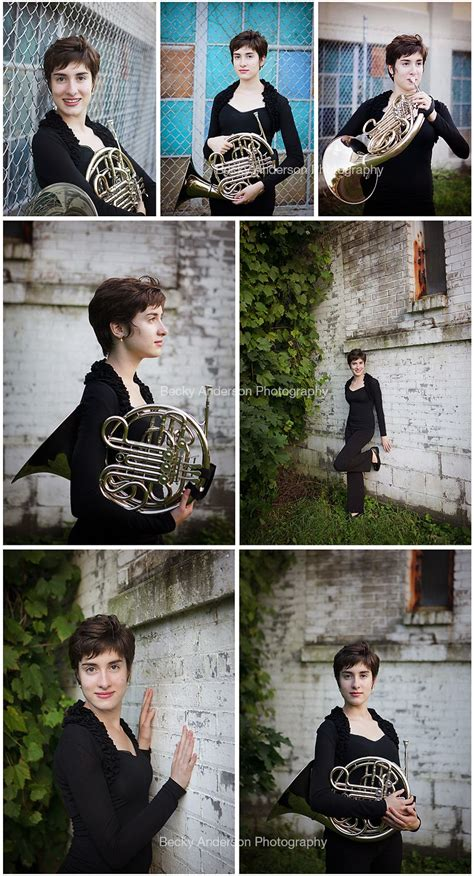 senior girl  french horn  urban setting kalamazoo