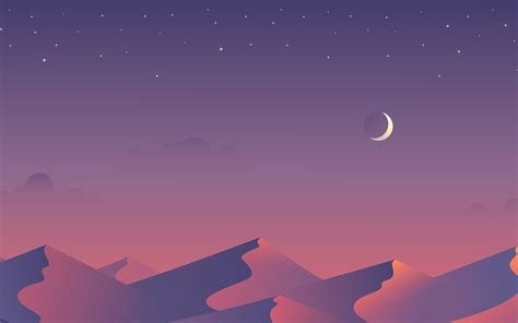 desert nights moon  minimalism hd  wallpaper