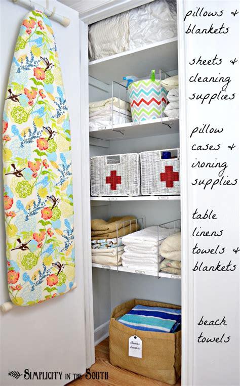 Small Hallway Closet Organization Ideas by 20 Beautifully Organized Linen Closets The Happy Housie