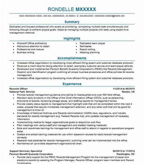 Records Resume by Records Officer Resume Sle Officer Resumes Livecareer