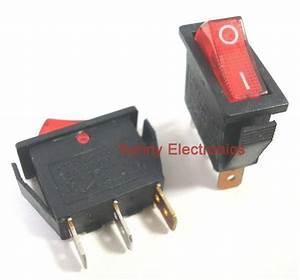 100 Pcs 3pin Illuminated Rocker Switch Red Spst 20a 125vac