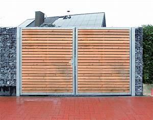 einfahrtstor 200 x 180cm 2 flugelig verzinkt holz tor With französischer balkon mit gartenzaun ebay