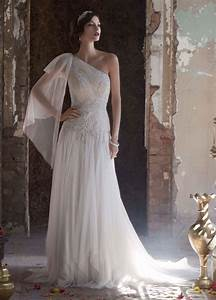 david39s bridal one shoulder wedding dress with With handkerchief wedding dress