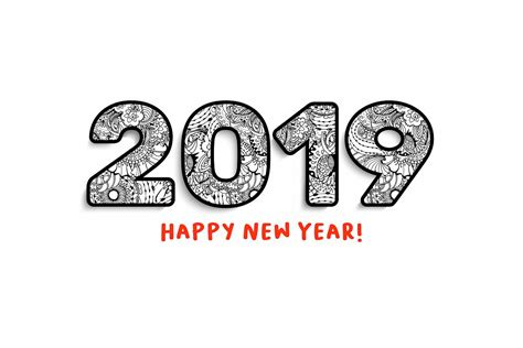 2019 New Year Numbers Illustrations And Calendar