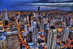 Birds, Eye, View, Of, A, City, During, Night, Hd, Wallpaper