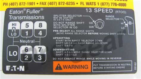 20162 eaton fuller shift label pattern diagram decal 13 speed rt00 rtoof 11613 and 14613