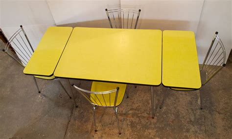 yellow table l mid century yellow formica kitchen table and chair set at