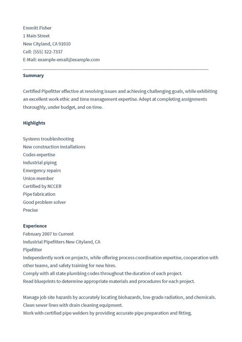 construction pipefitter resume  format  databaseorg