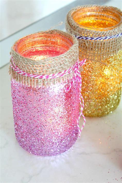 glittering mason jar diy luminaries diyideacentercom