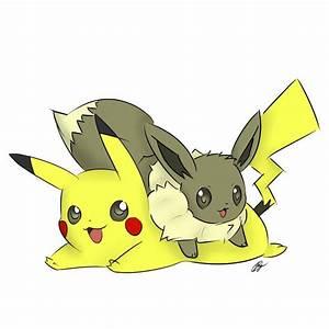 Eevee and Pikachu~ by Goobster180 on DeviantArt
