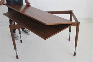 Coffee table hyatt fulton industrial adjustable height for Movable coffee table