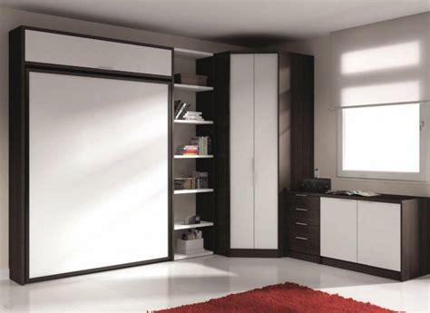 armoire lit escamotable eros avec rangements couchage 140 190cm
