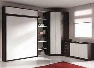 Lit Escamotable Armoire : armoire lit escamotable eros avec rangements couchage 140 ~ Premium-room.com Idées de Décoration
