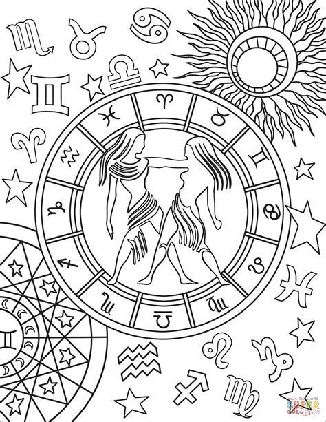 gemini zodiac sign coloring page  printable coloring