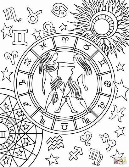 Zodiac Coloring Gemini Pages Sign Signs Printable