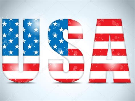 Letter Usa by Usa Glass Letters With Flag Background Stock Vector