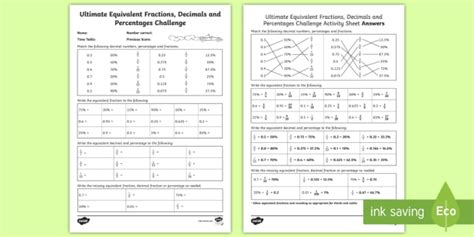 * New * Ultimate Equivalent Fractions, Decimals And Percentages Challenge